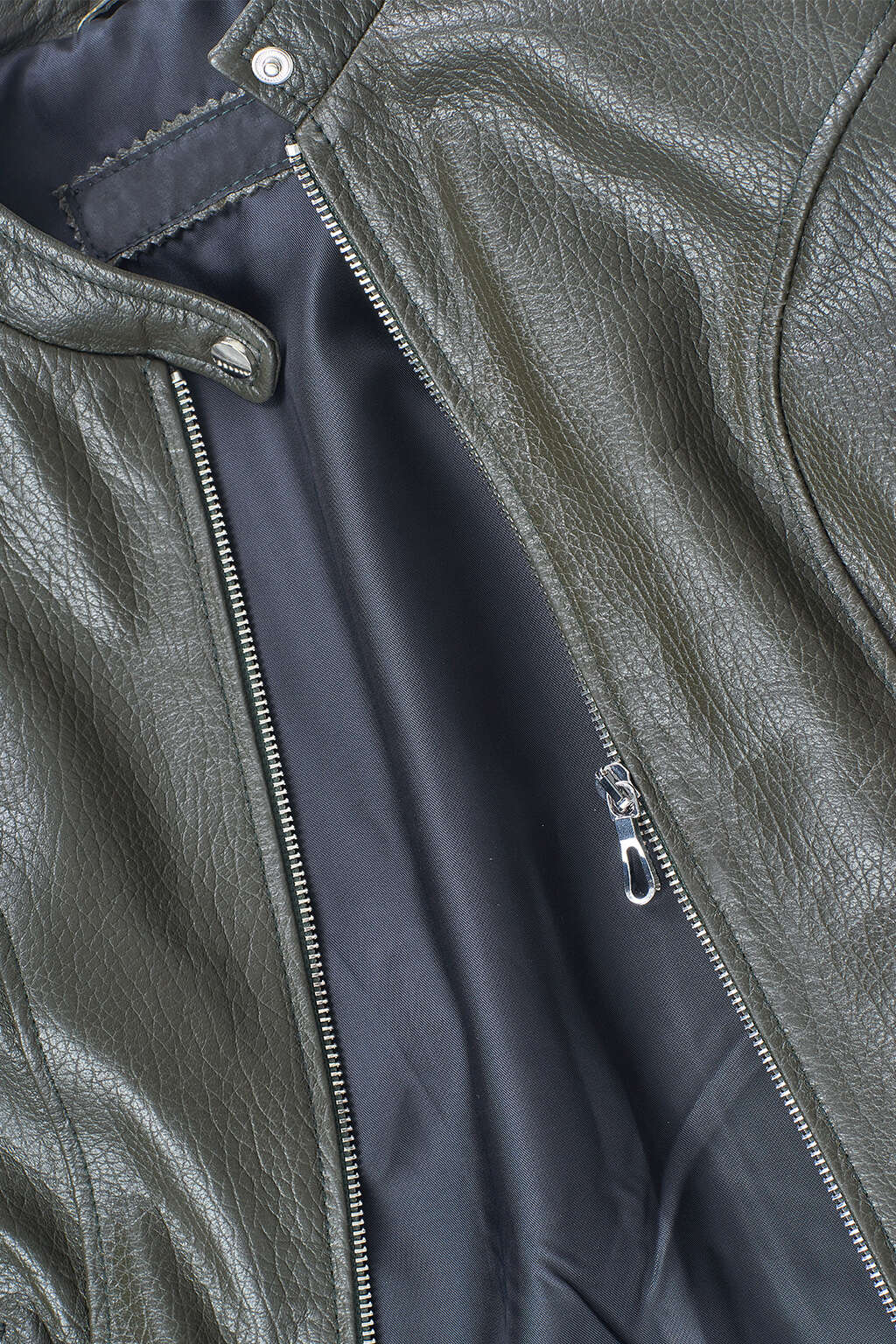 Zipper and Collar Detail of Deep Olive Green Classic High-Collared Leather Jacket
