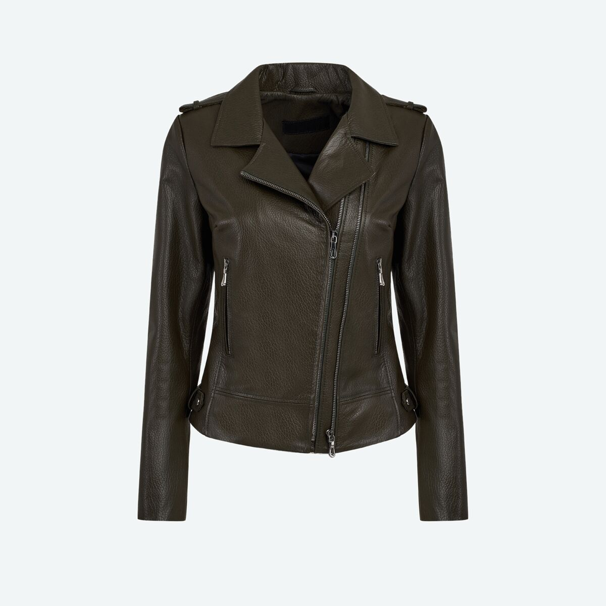 Women's Leather Biker Jacket - Olive Green