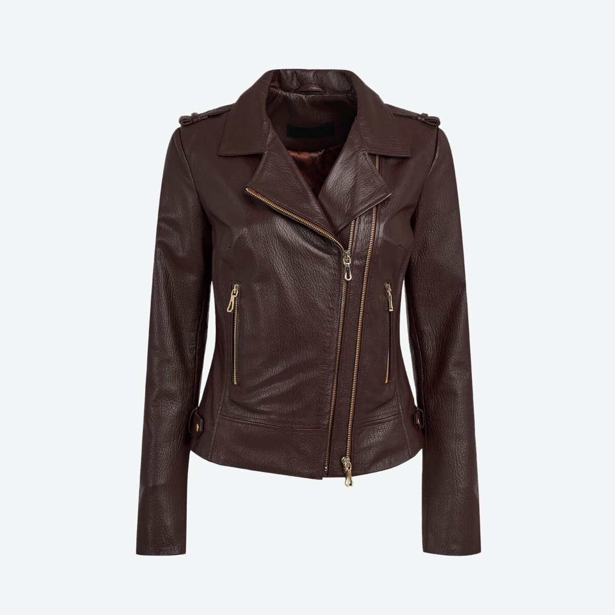 Women's Leather Biker Jacket - Maroon