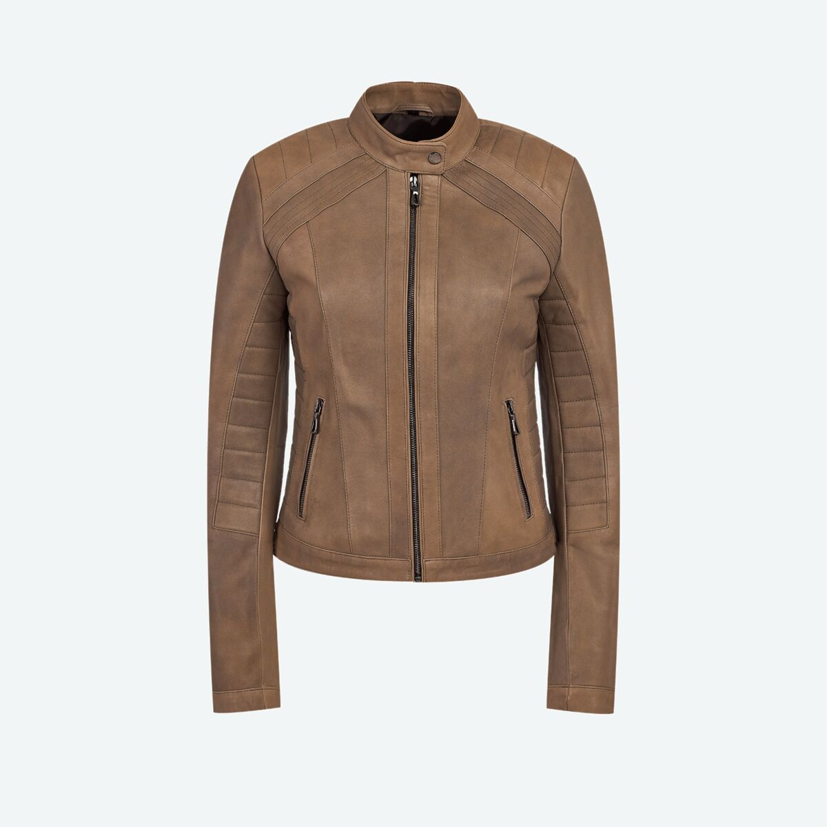Women's Quilted Cafe Racer Leather Jacket - Gray