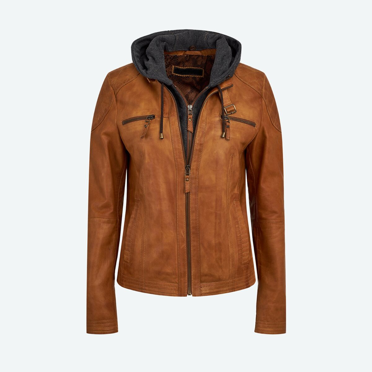 Women's Leather Jacket with Hood - Light Brown