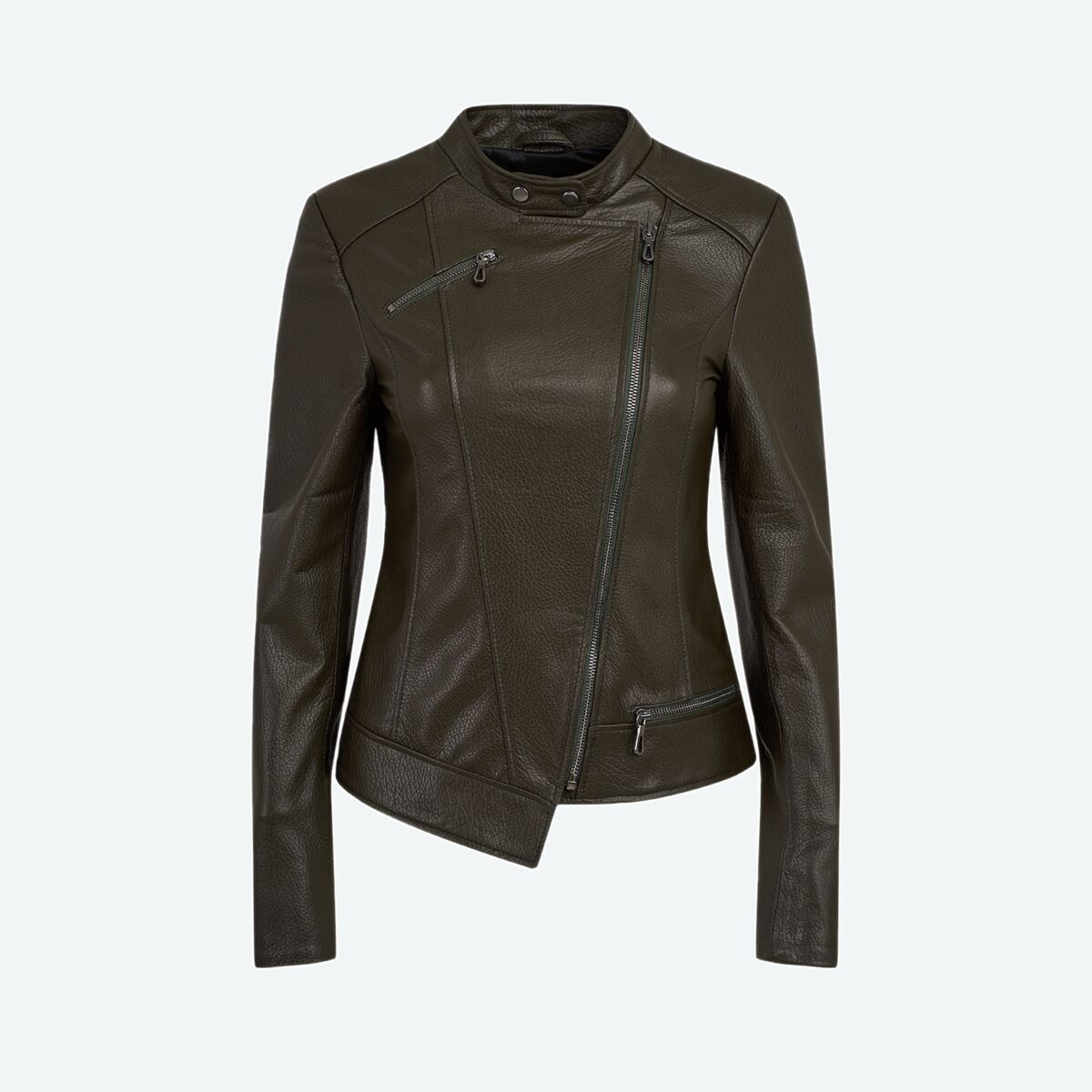 Women's Asymmetric Leather Jacket - Olive Green