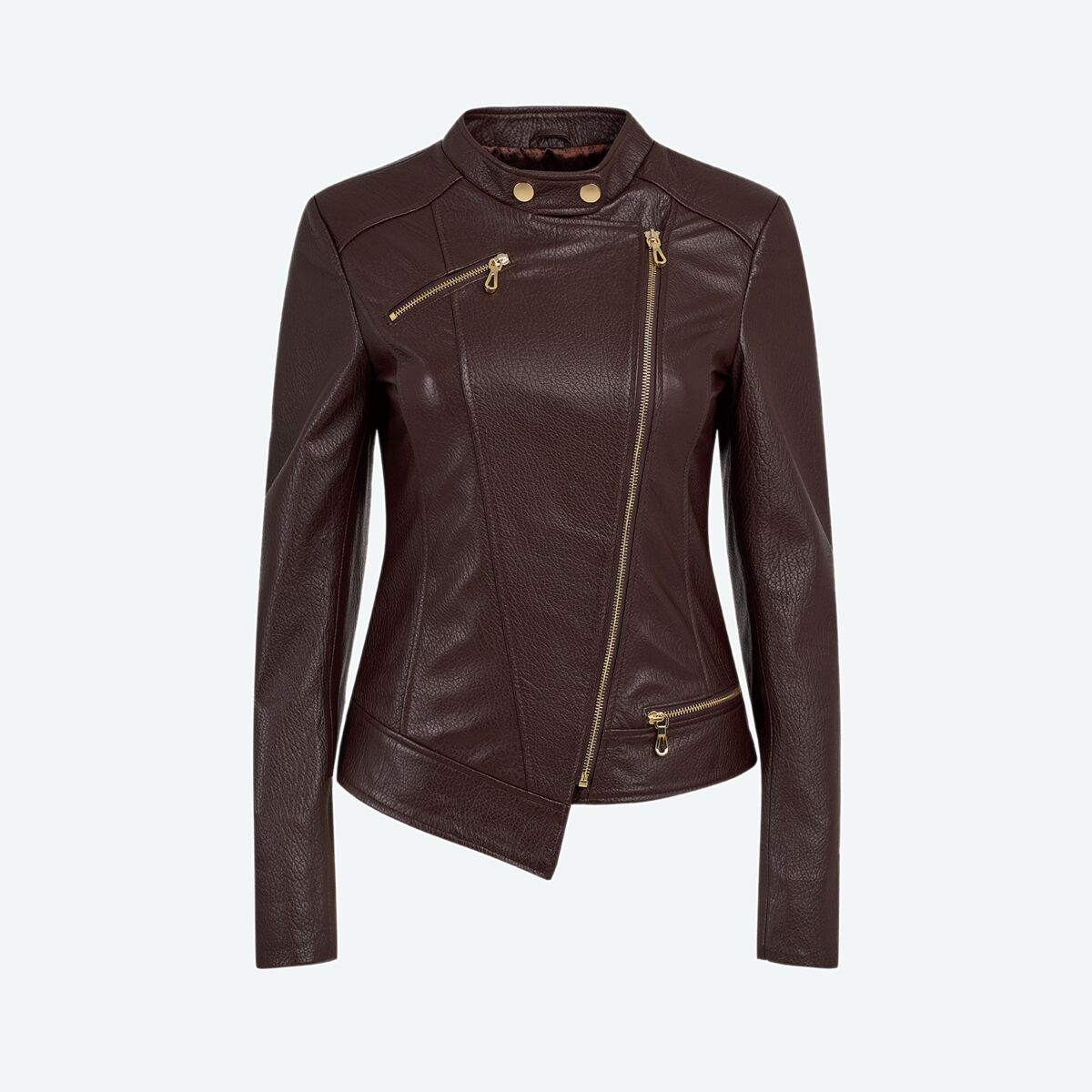 Women's Asymmetric Leather Jacket - Dark Brown
