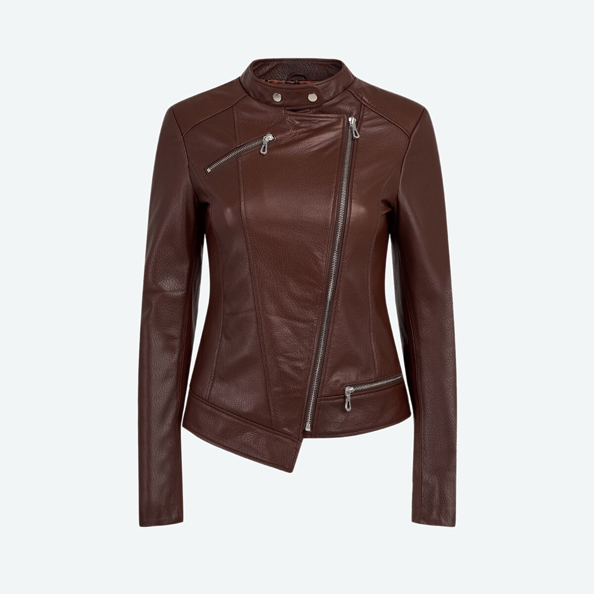Women's Asymmetric Leather Jacket - Brown