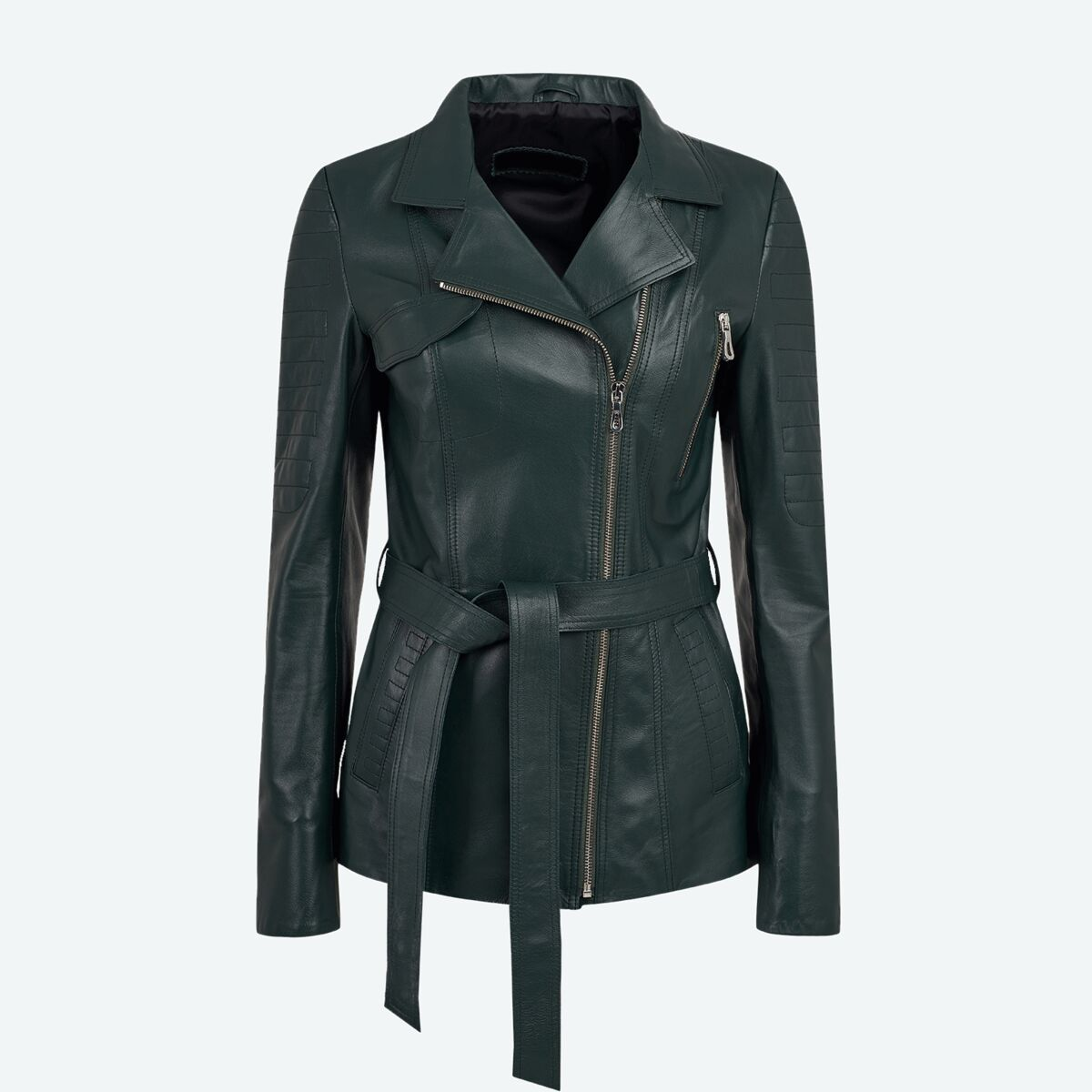 Women's Long Leather Jacket - Green