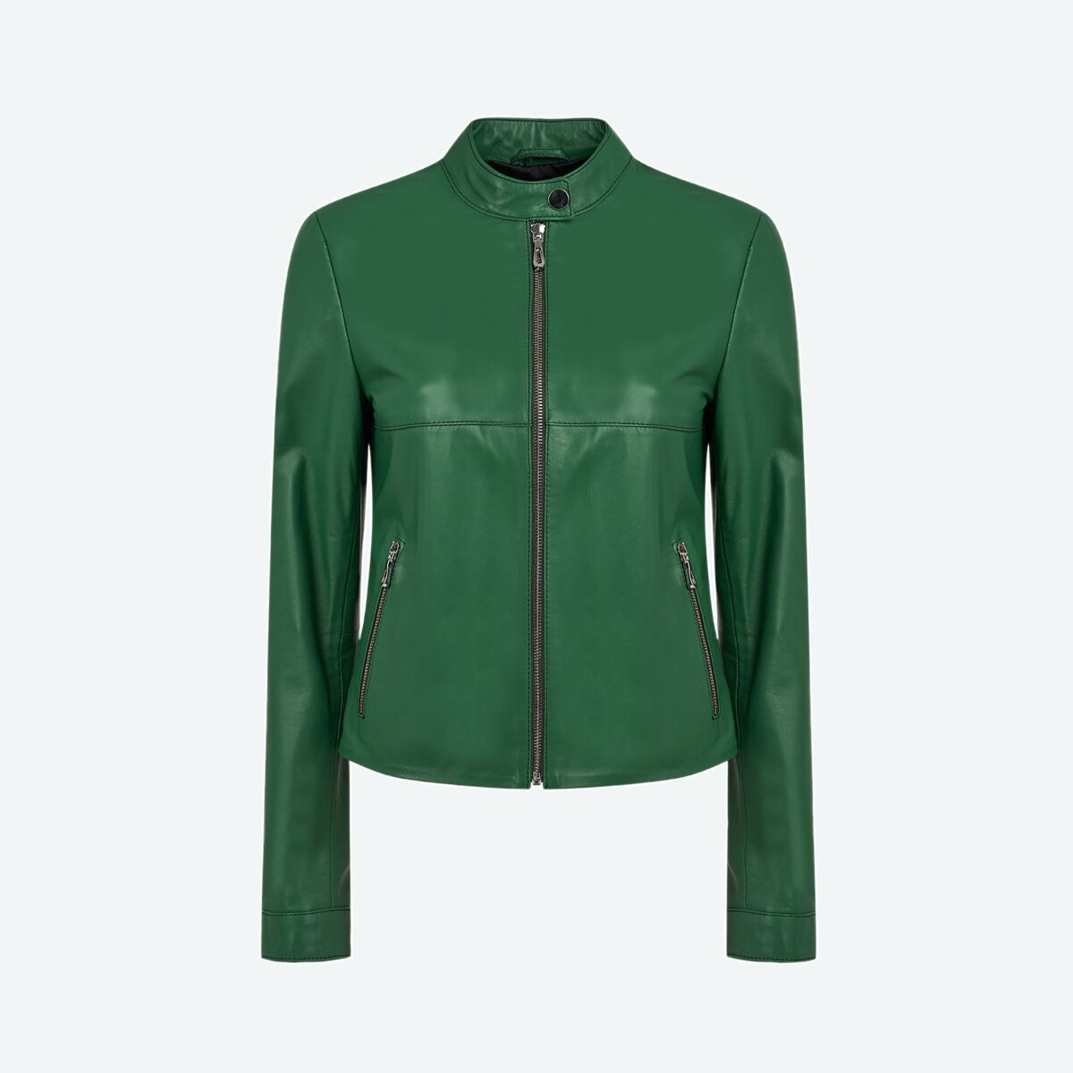 Women's Petite Leather Jacket - Green