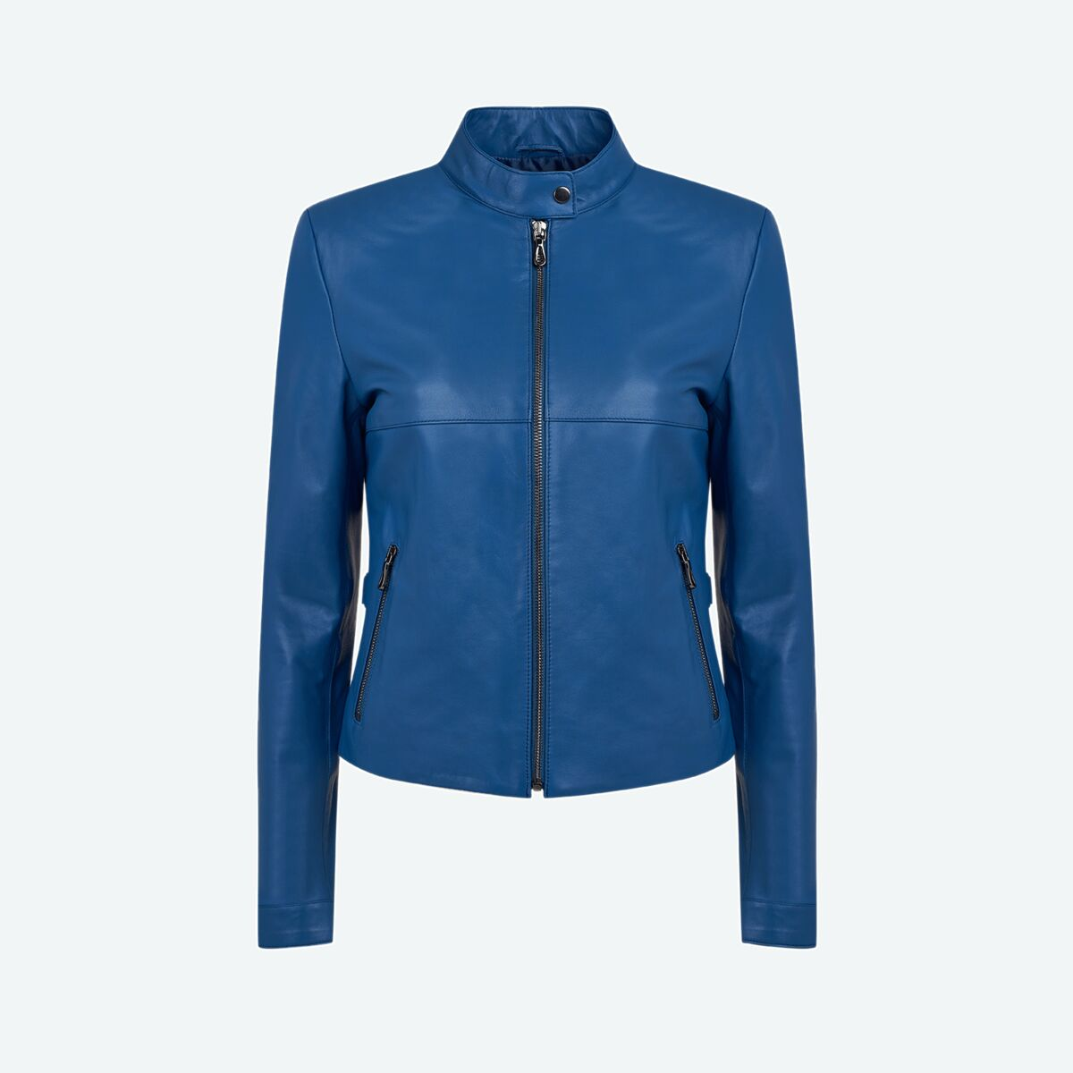 Women's Petite Leather Jacket - Blue