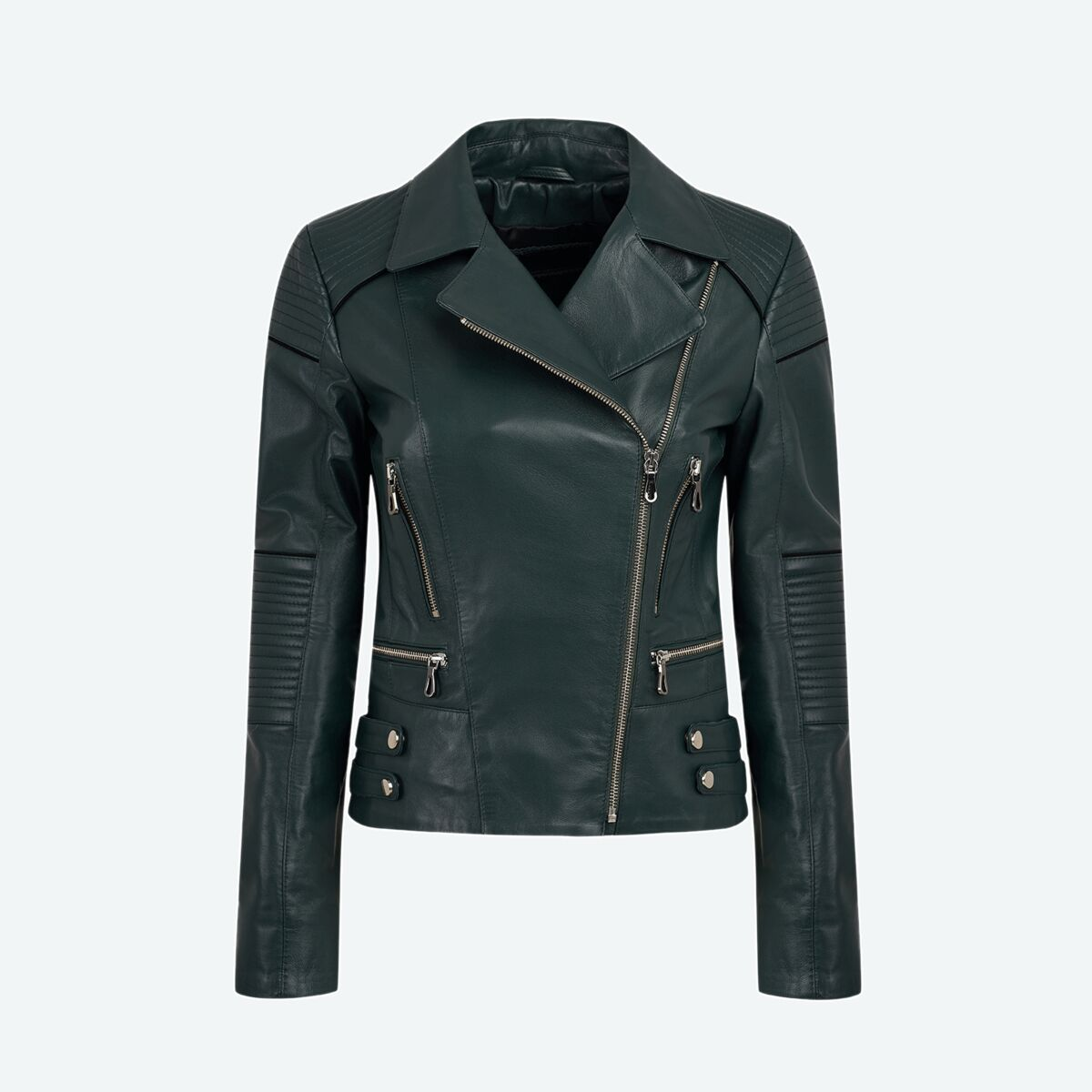 Women's Leather Motorcycle Jacket - Dark Green