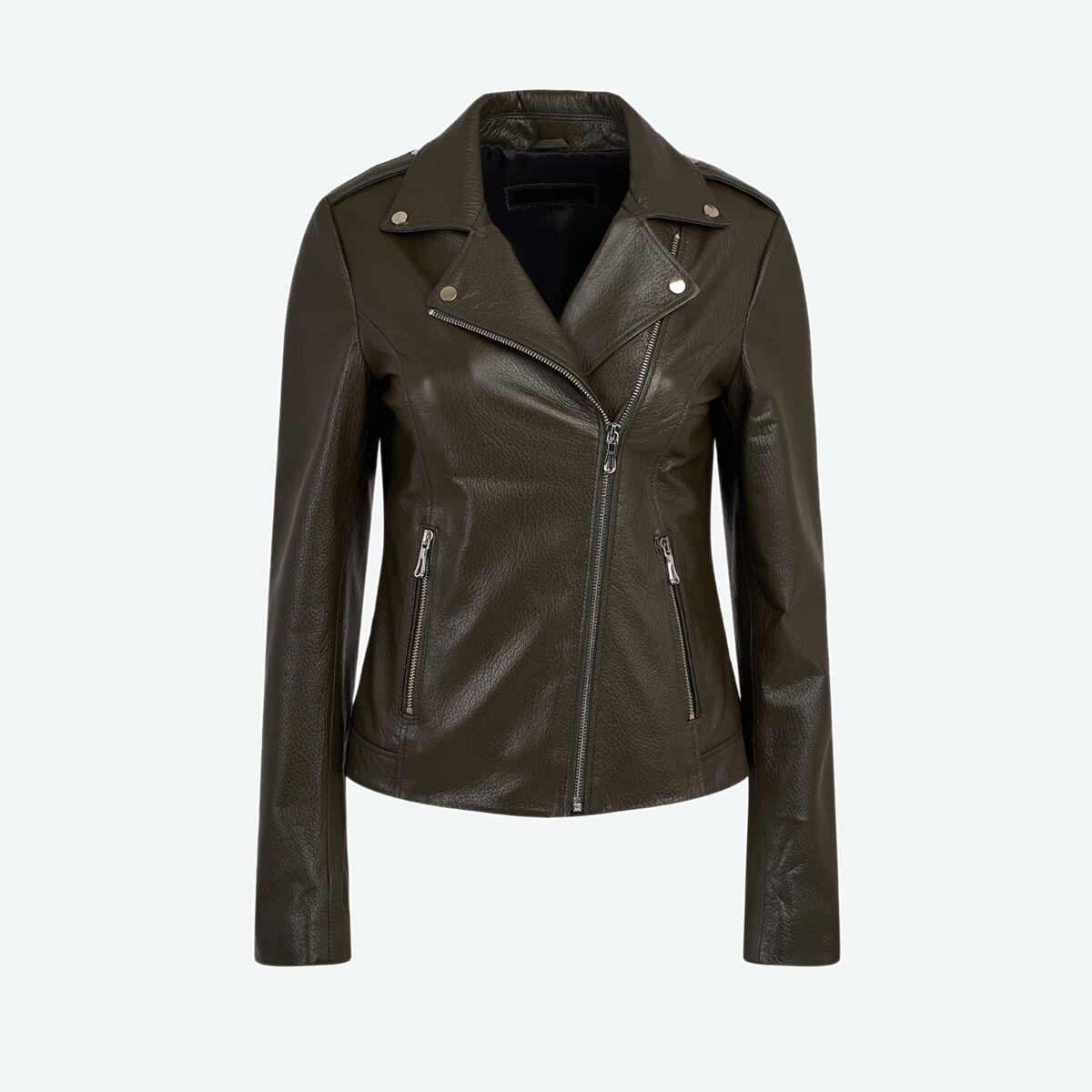 Women's Classic Biker Jacket - Olive Green