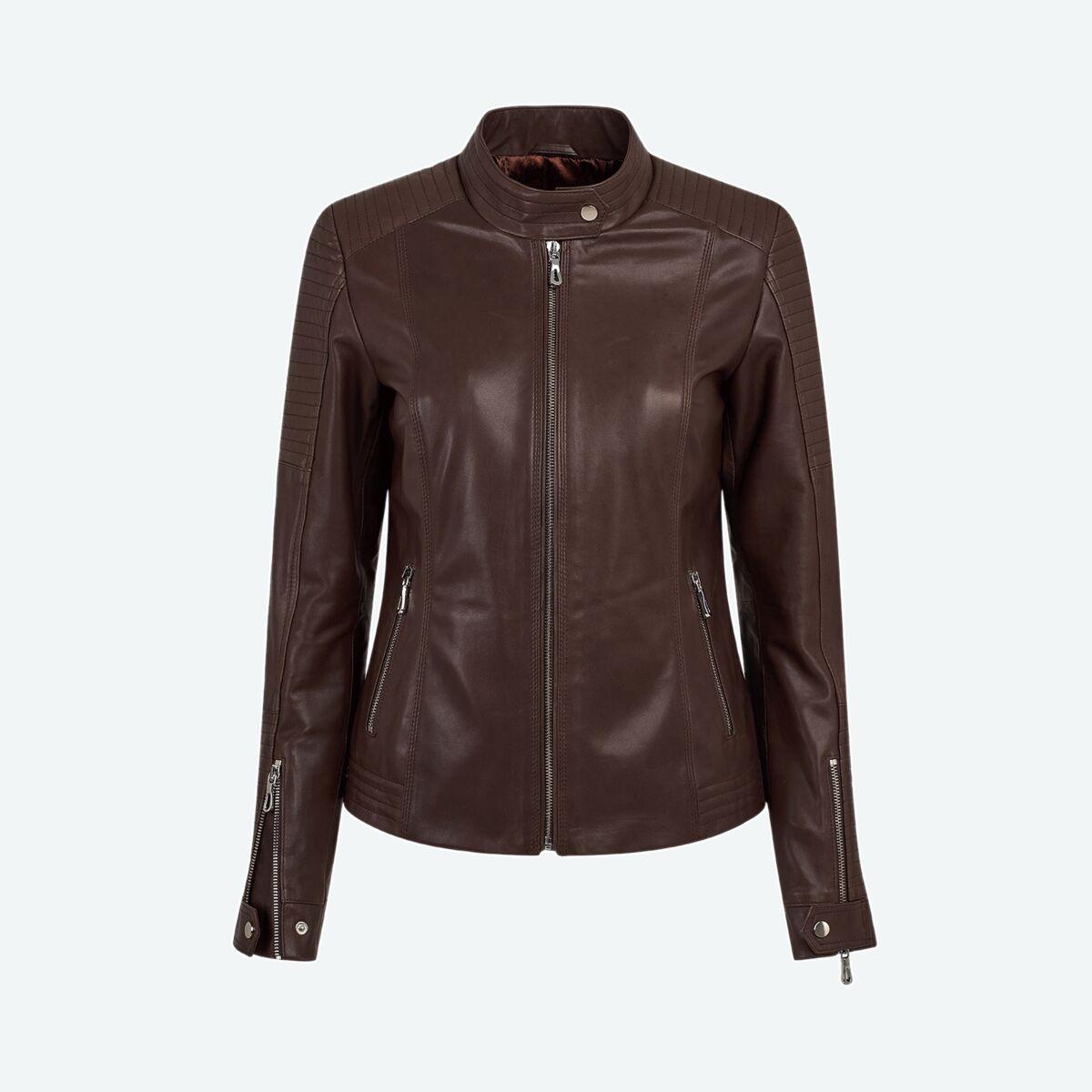 Women's Quilted Leather Jacket - Dark Brown