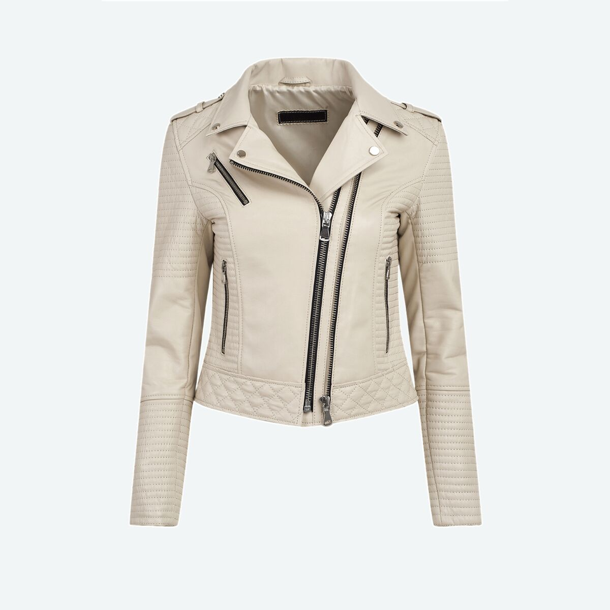 Women's Quilted Leather Moto Jacket - Pearl White