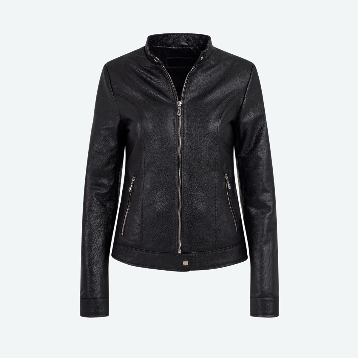 Women's Classic Leather Jacket - Jet Black
