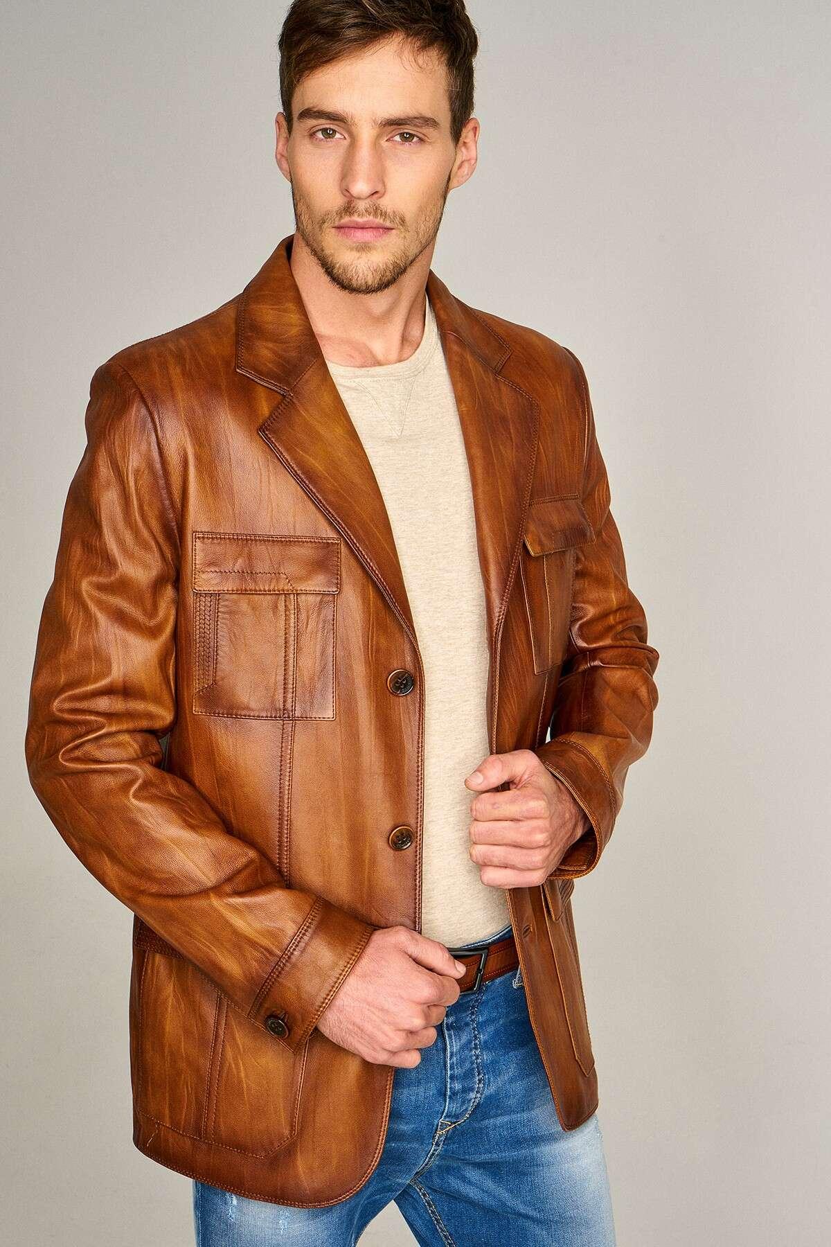 Men's Vintage Leather Blazer - Brown
