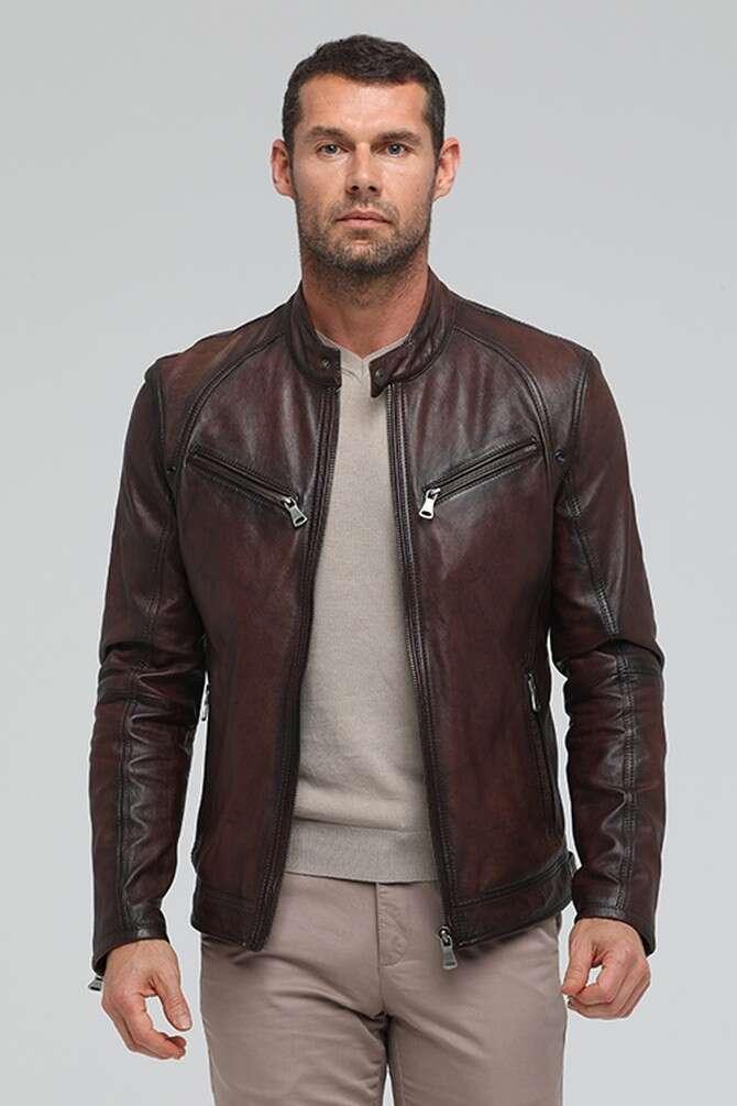 Men's Leather Racer Jacket - Dark Brown