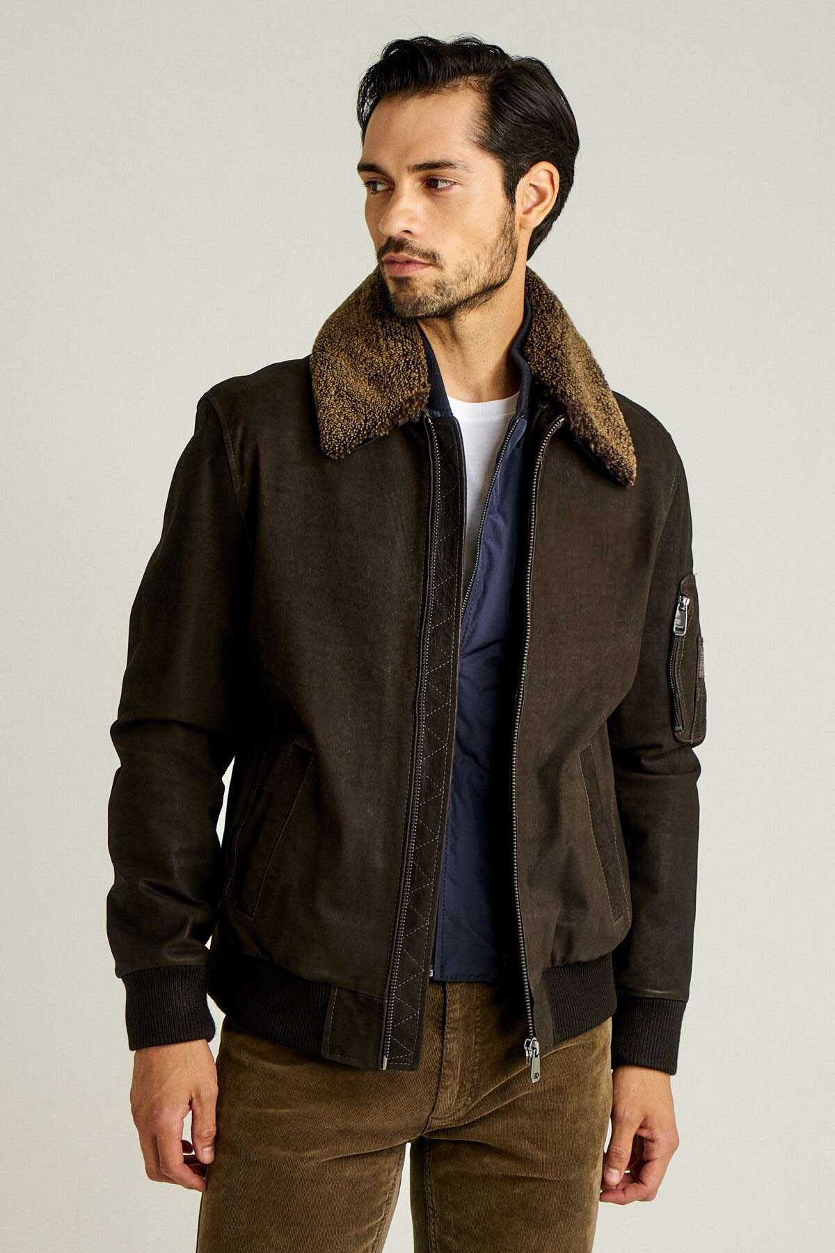 Men's Leather Bomber Jacket with Fur Collar - Brown