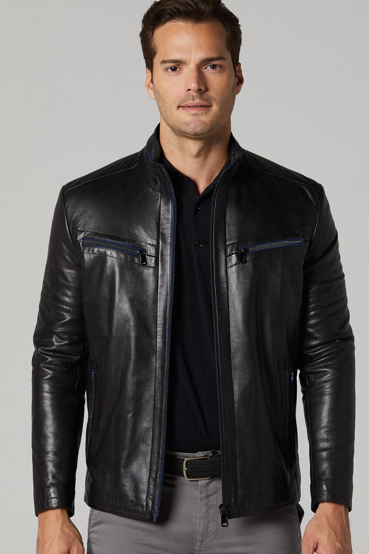 Vertigo Leather Jacket for Men - Black