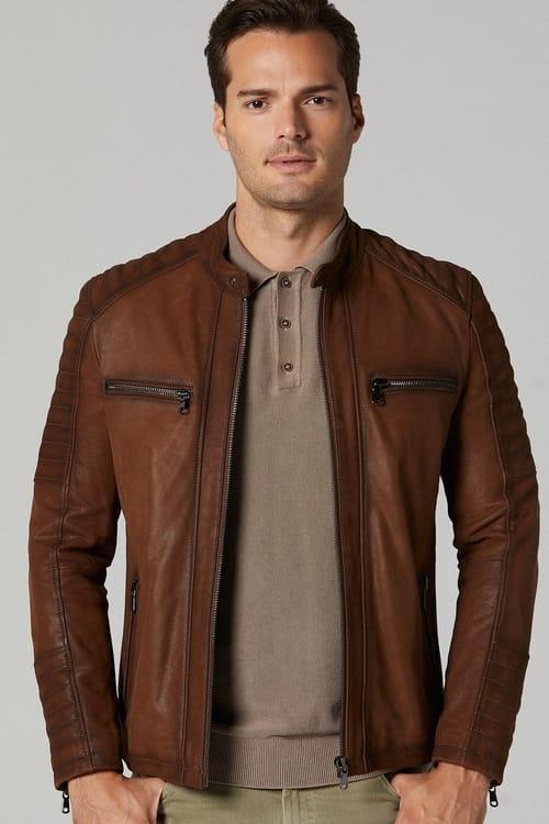 Vintage Quilted Leather Jacket for Men - Brown