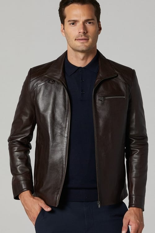 Sleek Leather Jacket for Men - Dark Brown