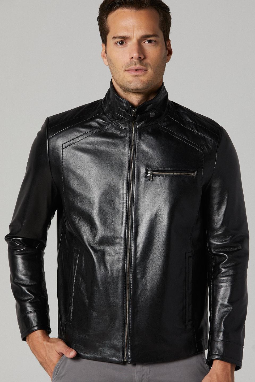 Sleek Leather Jacket for Men - Black