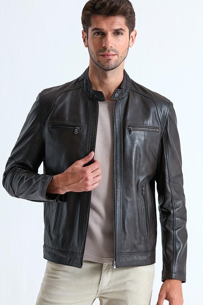 Austin Leather Jacket for Men - Black