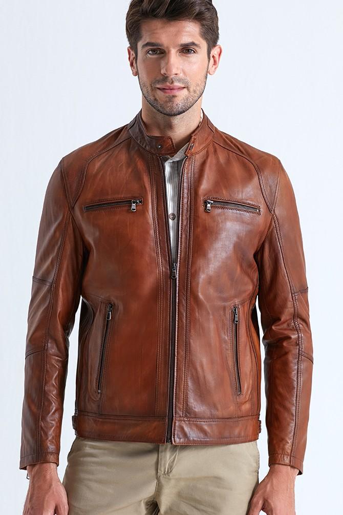 Austin Leather Jacket for Men - Brown