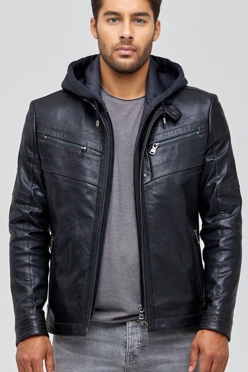 Detroit Hooded Leather Jacket for Men - Blue