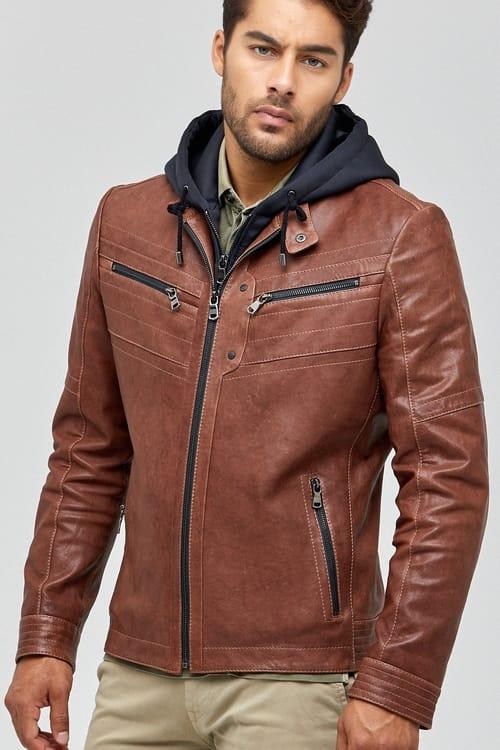 Detroit Hooded Leather Jacket for Men - Brown
