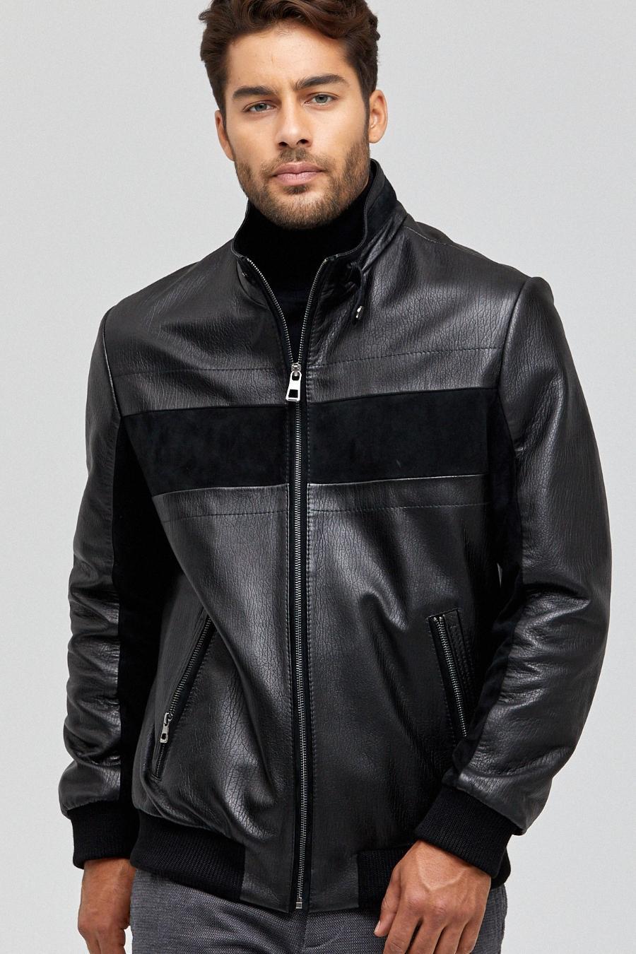 Supreme Leather Bomber Jacket for Men - Black