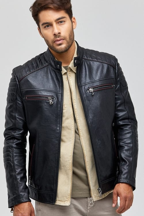Vermont Quilted Cafe Racer Leather Jacket for Men - Black