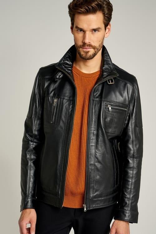 Premium Leather Field Jacket for Men - Black