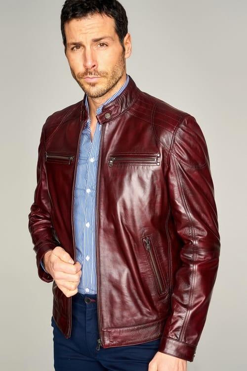 Phoenix Leather Jacket for Men - Dark Red