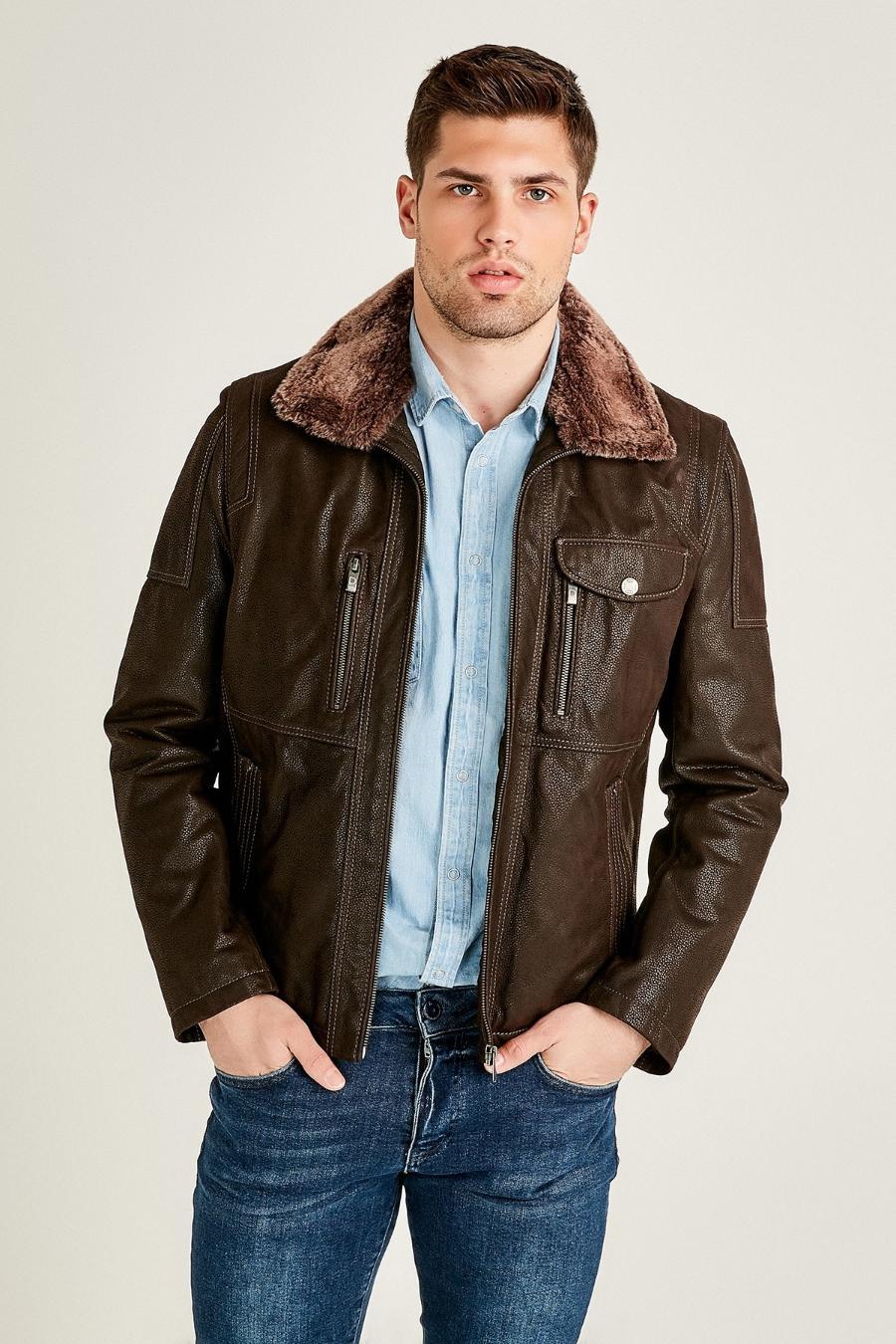 Alaska Leather Jacket with Fur Collar for Men - Dark Brown