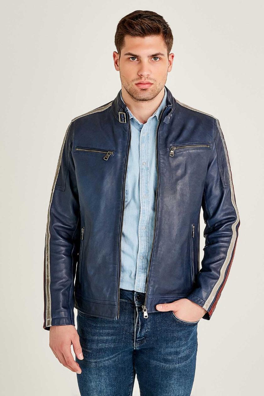 Daytona Cafe Racer Leather Jacket for Men - Blue
