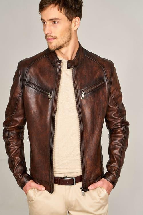 Men's Leather Racer Jacket - Brown