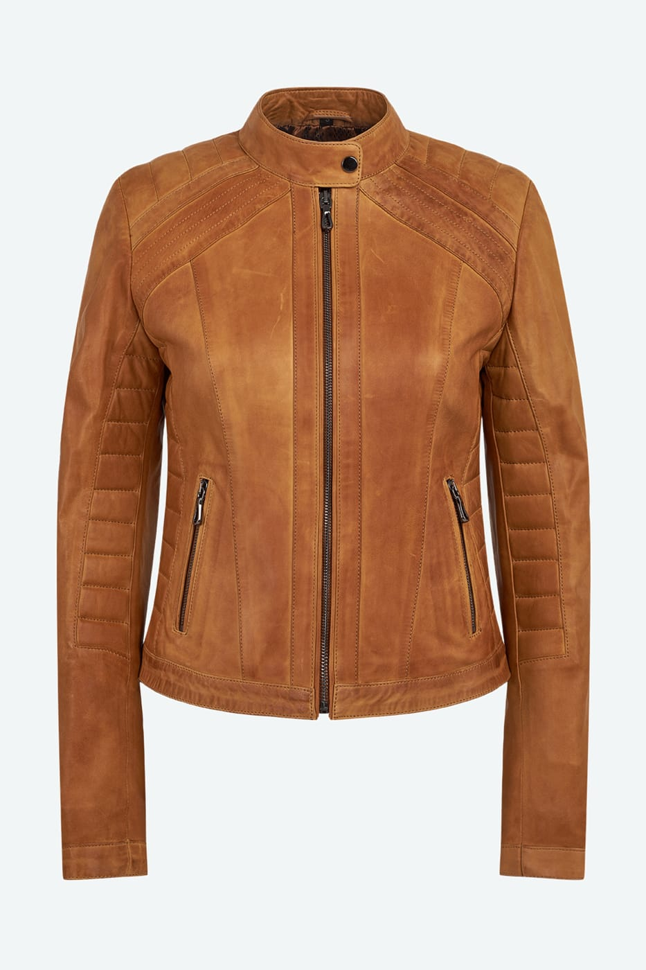 Women's Quilted Cafe Racer Leather Jacket - Light Brown