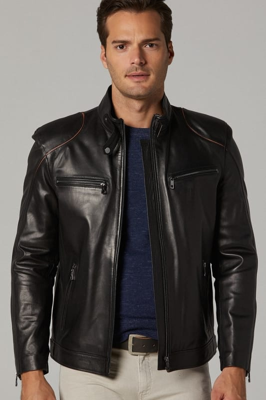 Luxe Leather Moto Jacket for Men - Black