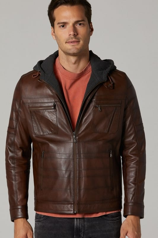 Men's Winter Leather Jacket with Hood - Brown