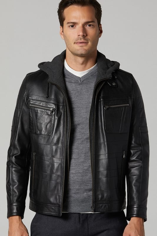 Men's Winter Leather Jacket with Hood - Black