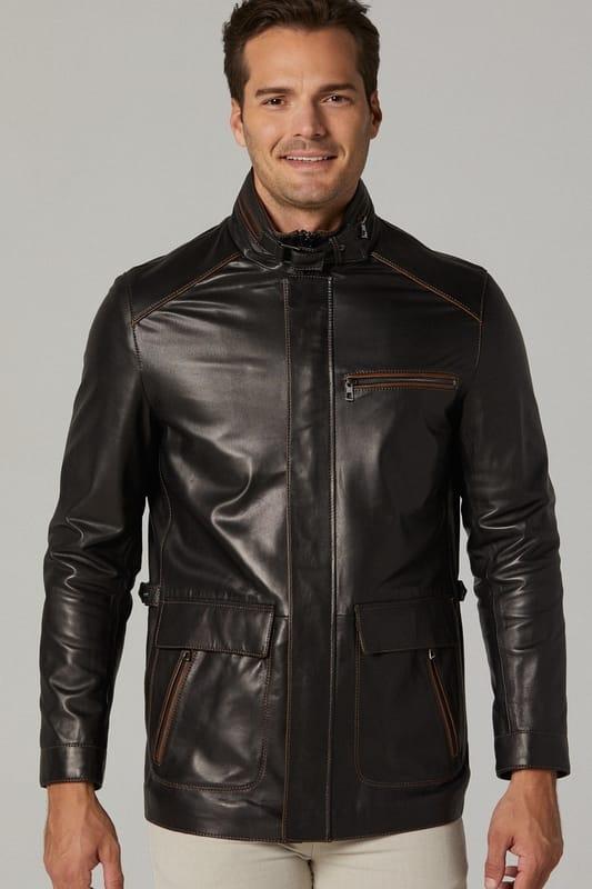 Vintage Leather Car Coat for Men - Black