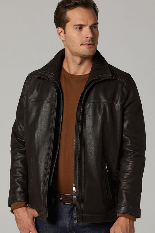 Rib-stitched Long Leather Jacket for Men - Dark Brown