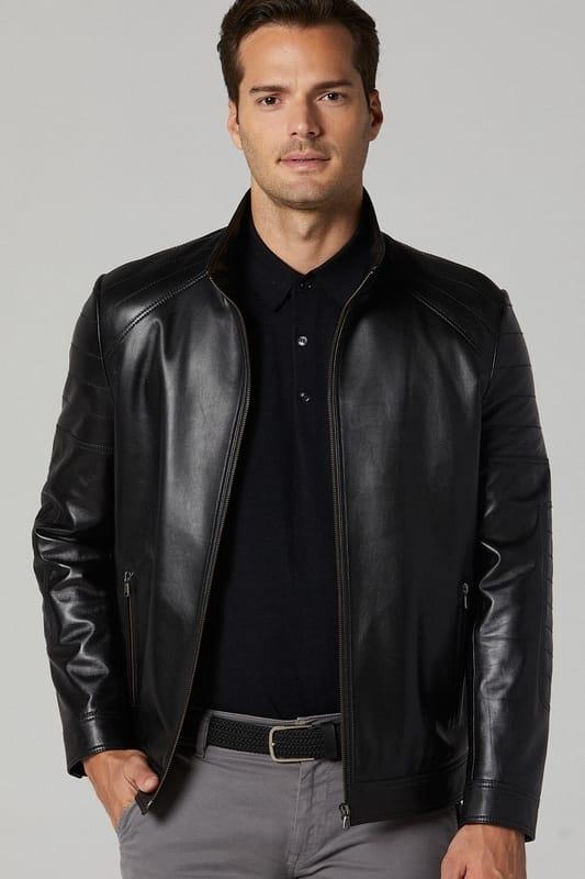 Men's Atlanta Leather Jacket - Black