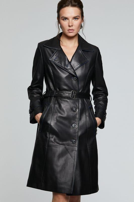 Full-Length Classic Leather Coat for Women - Black