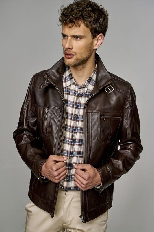 Men's Lambskin Leather Jacket with High Collar - Dark Brown