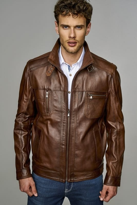Men's Lambskin Leather Jacket with High Collar - Brown