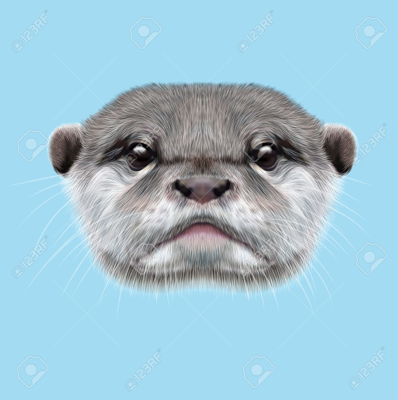 Cute otter face over blue