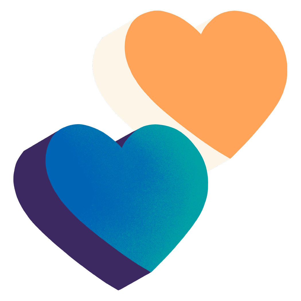 A colourful pair of hearts