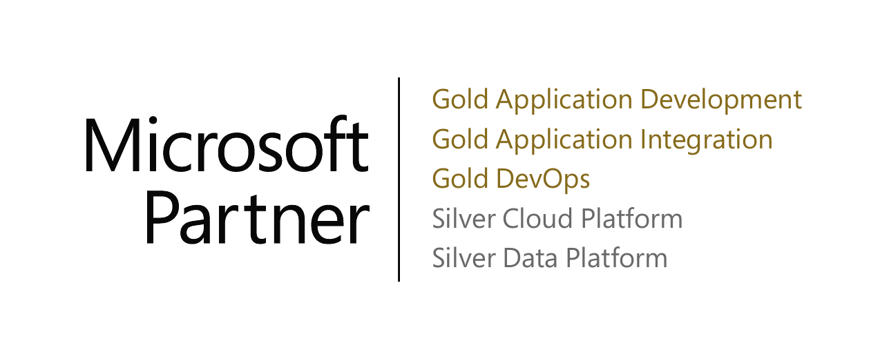 Microsoft Partner: Gold Application Development, Gold Application Integration, Gold DevOps, Silver Cloud Platform, Silver Data Platform