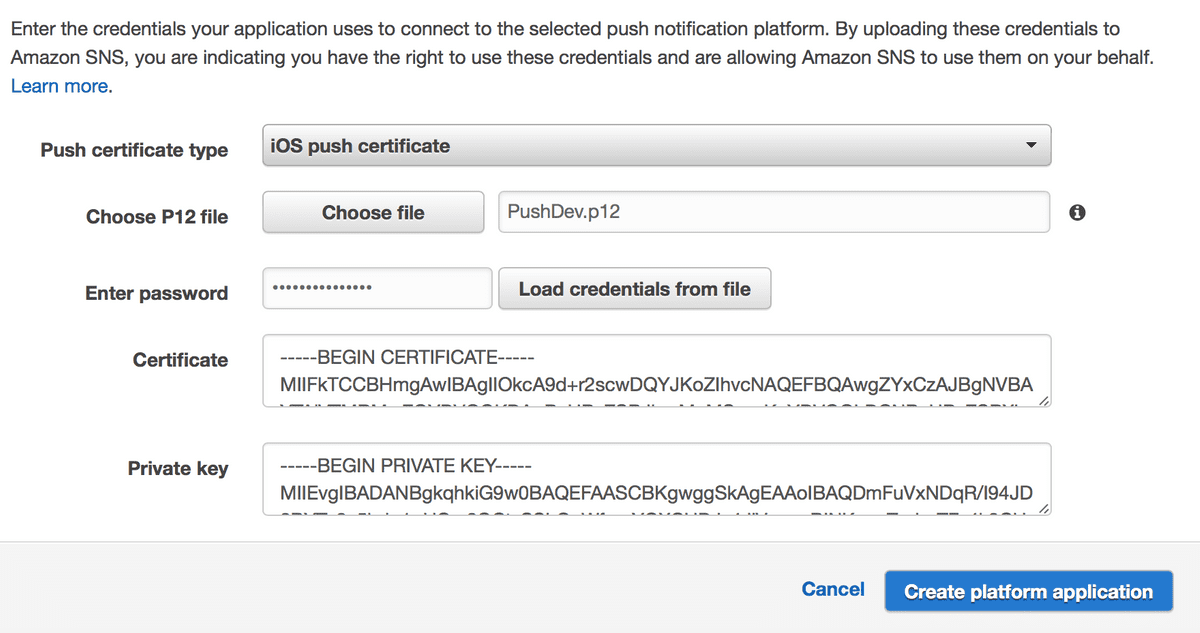 push certificate configuration