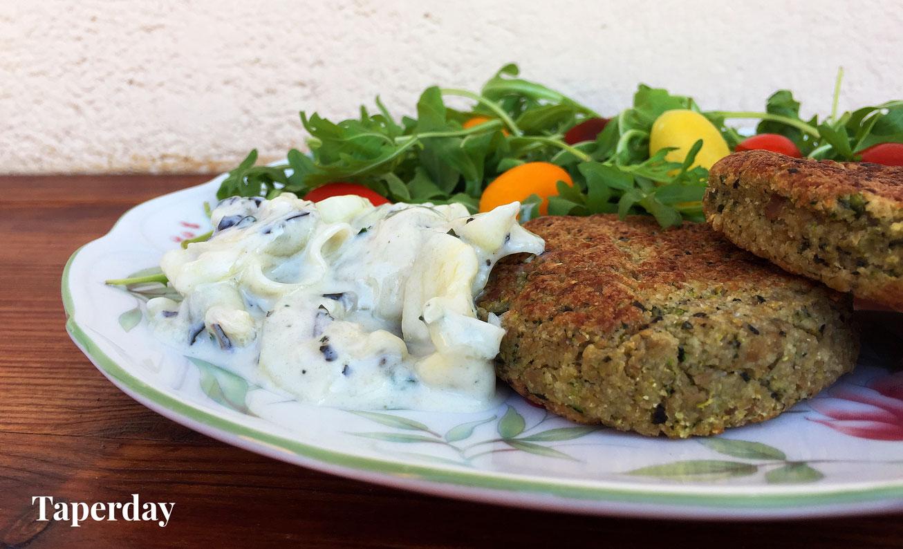 hamburguesa vegana de seitán y calabacín