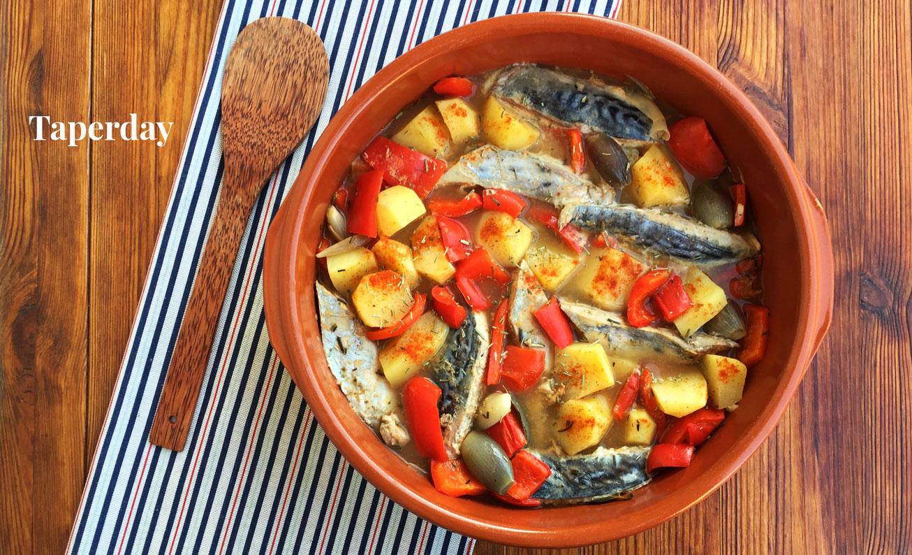 Bonito con pimientos y patatas